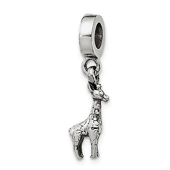 925 Sterling Silver Polished Reflections Giraffe Dangle Bead Charm Pendant Necklace Jewelry Gifts for Women