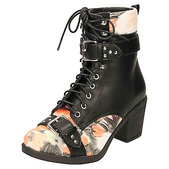 Koi Footwear Lace Up Chunky Heel Floral Stappy Ankle Boots