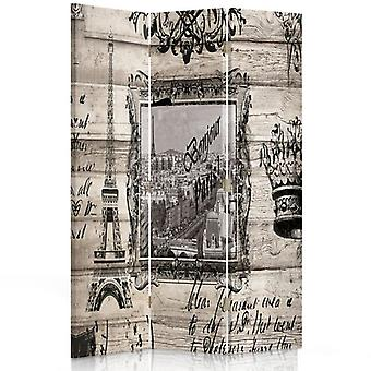 Room Divider, 3 Panels, Double-Sided, Rotatable 360, Canvas, Bonjour Paris