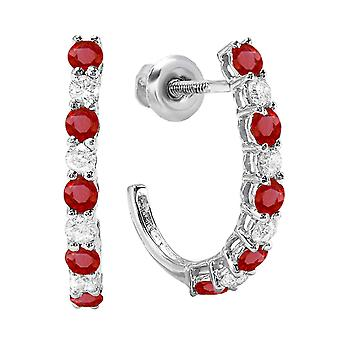 Dazzlingrock Collection 18K Round Ruby & White Diamond Ladies J Shaped Hoop Earrings, White Gold