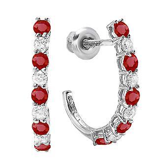 Dazzlingrock kollektion 18K Round Ruby & hvid diamant damer J formet Hoop Øreringe, hvid guld