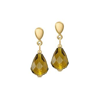 Eternal Collection Sophistication Olive Green Crystal Gold Tone Drop Pierced Earrings
