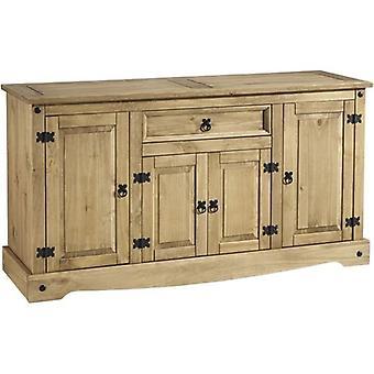 Corona 4 Door 1 Drawer Sideboard Distressed Waxed Pine