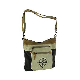 Lærred og læder Trim Dobbelt Zip Front Compass Rose Crossbody Håndtaske