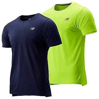 New Balance Mens Accelerate SS Mesh Jersey Reflective Dropped Hem T-Shirt