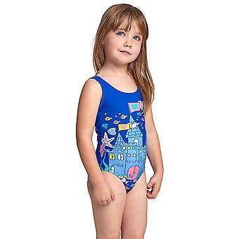 Zoggs undersea Girl ' s scoopback o bucata costum de baie albastru/multi elastomax