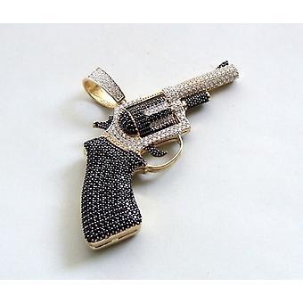 Gelbgold Pistole Anhänger mit Zirkon