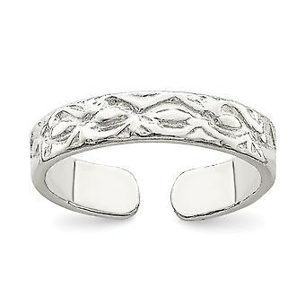 925 sterling zilver Solid getextureerde teen ring-1,7 gram
