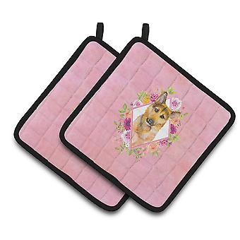 German Shepherd #2 Pink Flowers Pair of Pot Holders