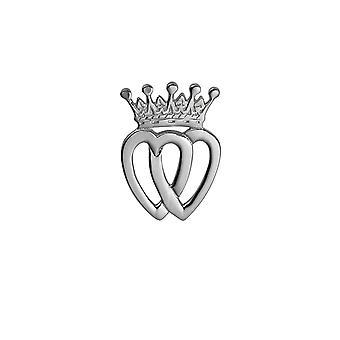 Sølv 33x23mm Luckenbooth dobbelt hjerte og krone broche