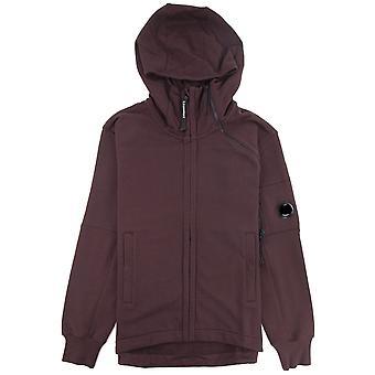 CP bedrijf diagonaal verhoogd fleece dubbele ritssluiting lens hoodie bitter chocolade 593
