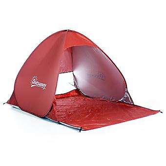 Outsunny Pop up Beach Tent  Instant Portable Camping Picnic Hiking  UV Protection Shelter with Carry Case Red