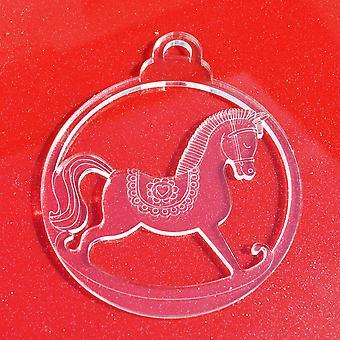 6 PK Rocking Horse Clear Acrylic Christmas Decorations