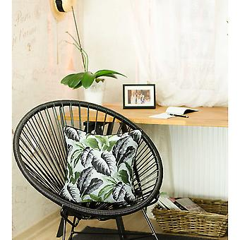 Black White and Green Tropical Leaf Throw Pillow Cover
