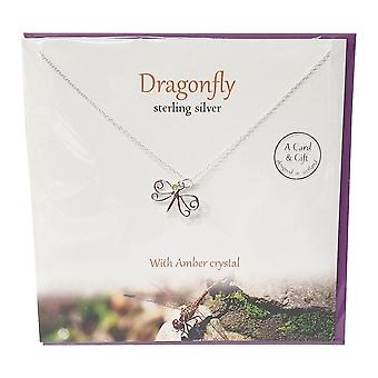 The Silver Studio Dragonfly With Amber Crystal Pendant
