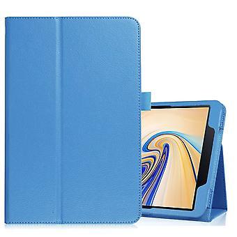 لسامسونج غالاكسي تبويب S4 10.5in الأزرق Lychee نسيج فوليو القضية الجلدية، الوقوف