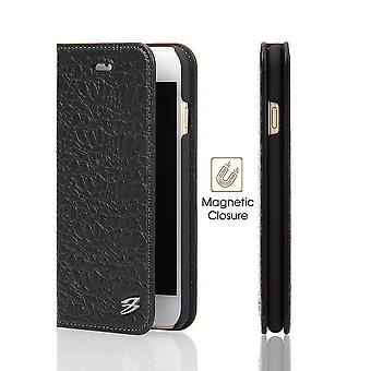 Pour iPhone SE (2020), 8 et 7 Portefeuille Case,FierreShann Crocodile Genuine Cow Leather Cover,Black