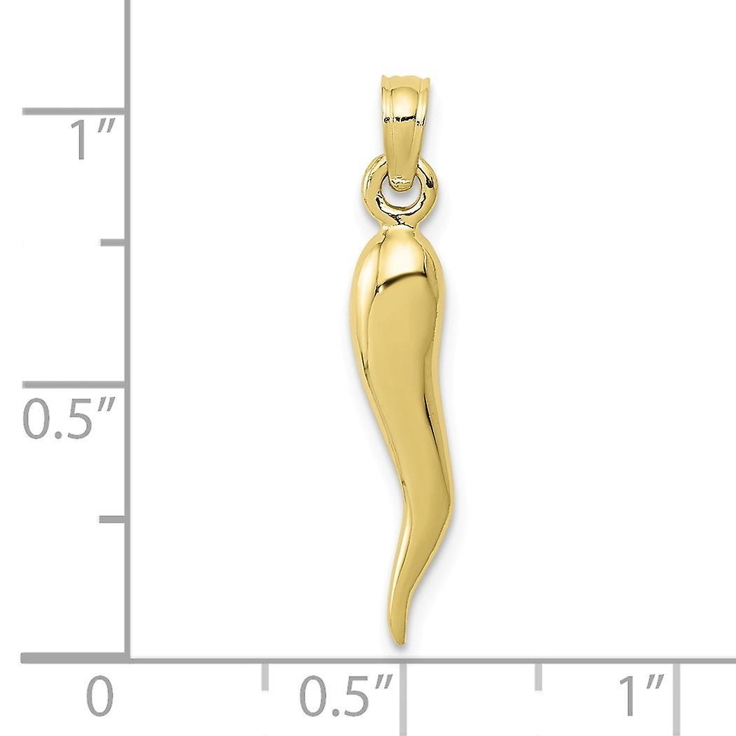 10 k Gold Medium italienischen Horn Anhänger Halskette Schmuck Geschenke für Frauen - 1,3 Gramm