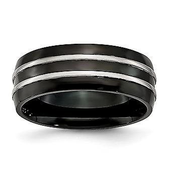 Rustfritt stål Graverbar IP svart belagt 8mm svart belagt børstet og polert Band Ring Smykker Gaver til kvinner - Rin