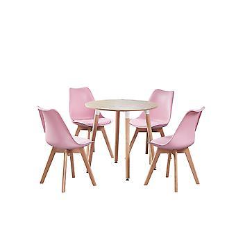 Juego de mesa redonda De jamie Halo con 4 sillas