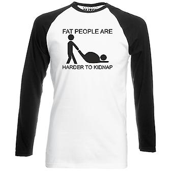 Reality glitch fat people are harder to kidnap mens baseball shirt - long sleeve