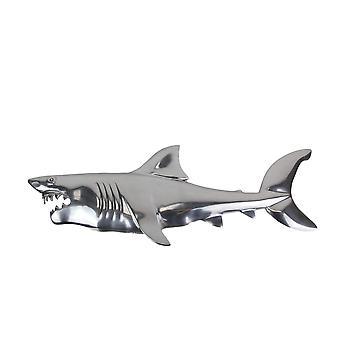 37 pouces Wall Mounted Metal Shark Plaque Hanging Coastal Sculpture Decor Art