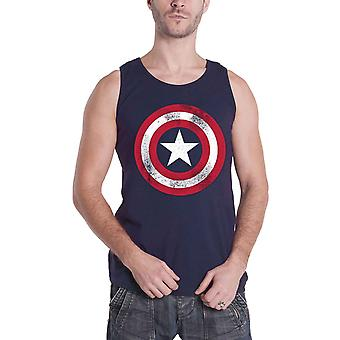Official Mens Captain America Vest Top Distressed Shield Logo Navy Size Small