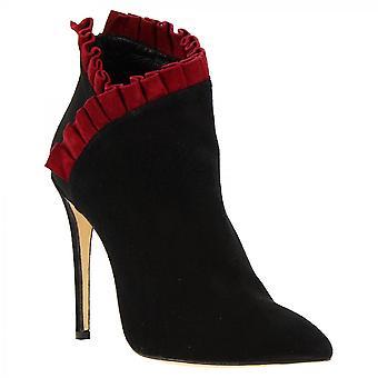 Donne 's fatti a mano tacchi alti stivaletti in pelle di camoscio nero con volant rosso