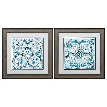 """19"""" X 19"""" Distressed Wood Toned Frame Carribean Tile (Set of 2)"""