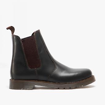 Grafters Ellis Unisex Leather Air Cushion Sole Dealer Boots Dark Brown