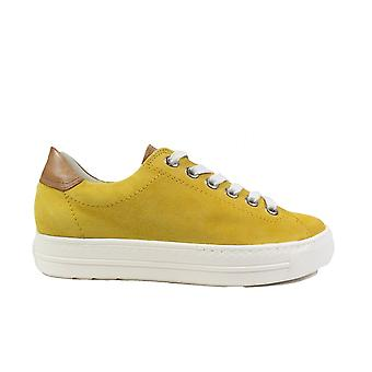 Paul Green 4741-06 Yellow Nubuck Leather Womens Lace Up Casual Trainers