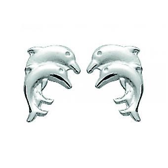 Dolphin earrings duplicated in rhodi silver