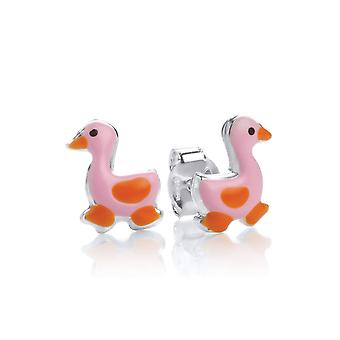 David Deyong Children's Sterling Silver Pink Duck Stud Earrings