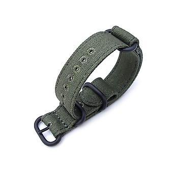 Strapcode n.a.t.o urrem 20mm miltat lærred g10 militære urrem, militær farve med lockstitch runde hul, skov grøn, pvd sort