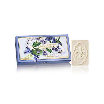 Saponificio Artigianale Fiorentino Handgemaakte Reliëf Violet Zeep liefdevol verpakt in hoge kwaliteit Gift Box 3x125g