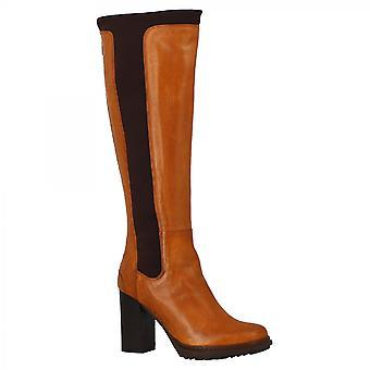 Leonardo Shoes Women-apos;s handmade high heels knee high boots in tan calf leather