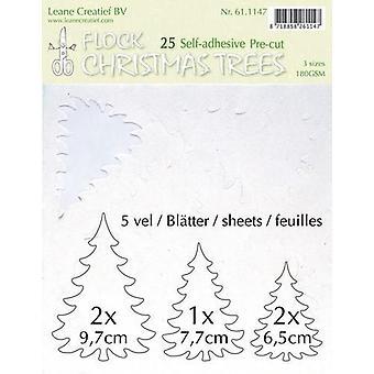 LeCrea - Flock paper Xmas trees white 25 pre-cut & adhesive 61.1147