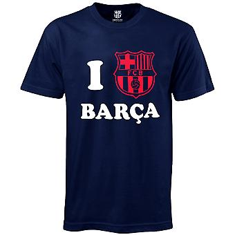 FC Barcelona Official Football Gift 'I Love Barca' Mens T-Shirt