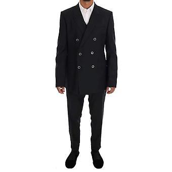 Dolce & Gabbana Gray MARTINI Gyapjú Selyem Slim fit Suit -- KOS1599856