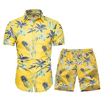 Allthemen Men's Fashionable Pineapple Printed Short-Sleeved Shirt Suit