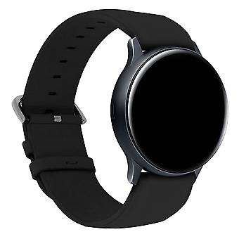 Eco-leather Strap for Galaxy Watch Active2 44mm Tang Buckle Clasp- Black