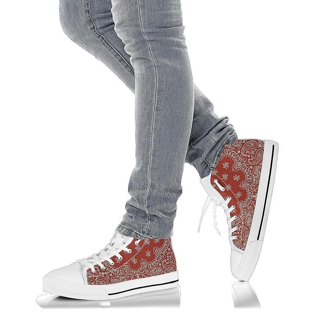 High Top Shoes | Red Paisley Print