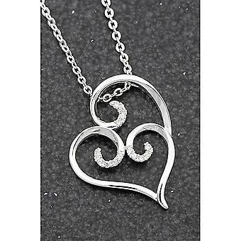 Equilibrium Ornate Silver Plated Pave Swirl Necklace