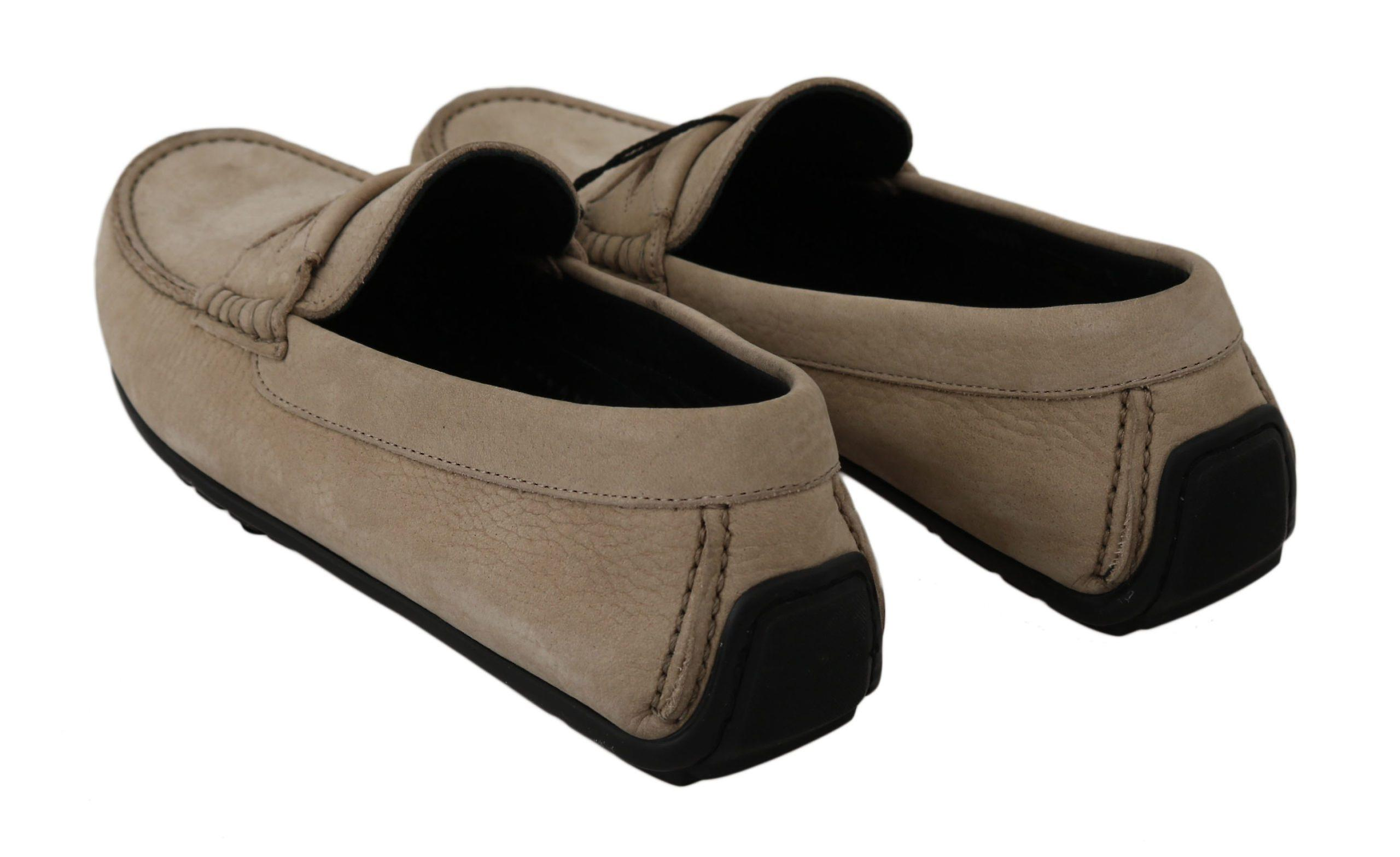Dolce & Gabbana Beige Leather Flat Loafers Casual Mens Shoes -- Mv23179056