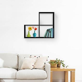 Mensola Bounce Colore Nero in Truciolare Melaminico, Mensola L62xP20xA70 cm, Dimensioni Totali L113xP20xA75 cm