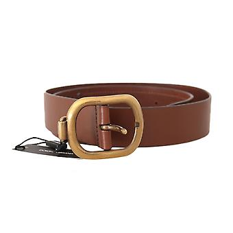 Dolce & Gabbana Brown Leather Gold Logo Buckle Wide Belt