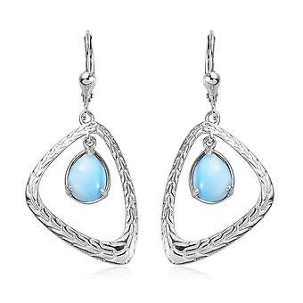 Boucles d'oreilles TJC Drop Dangle pour femmes Larimar Platinum Plaqué Argent Sterling, 4 Ct