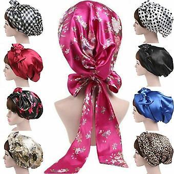 Women Satin Turban Headscarf Silk Shower Cap Night Sleep Hair Bonnet Hat Head Cover