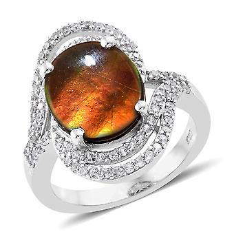 TJC Halo platinbelagt sterling sølv ring ammolit cambodjanske Zircon