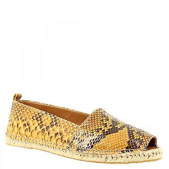 Leonardo Shoes Women's fait à la main peep toe espadrilles en cuir python jaune